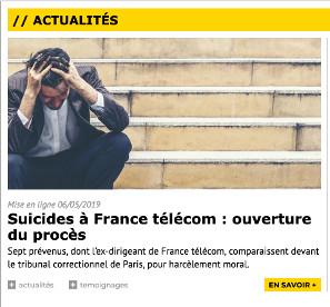 Suicides à France Télécom, ouverture du procès en mai 2019.
