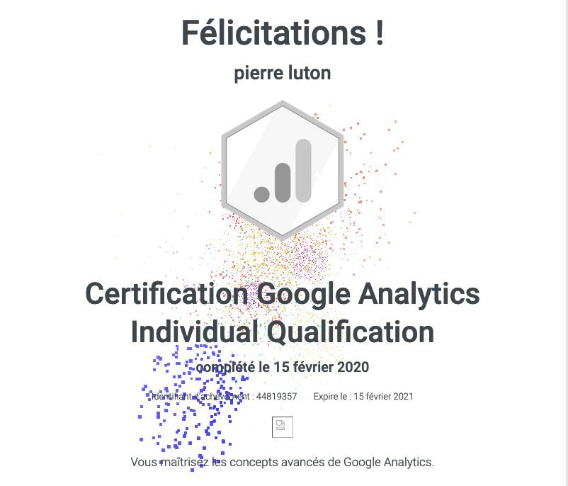 Une certification Google analytics, obtenue par Pierre Luton, rédacteur en chef d'A part entière, magazine de la Fnath.